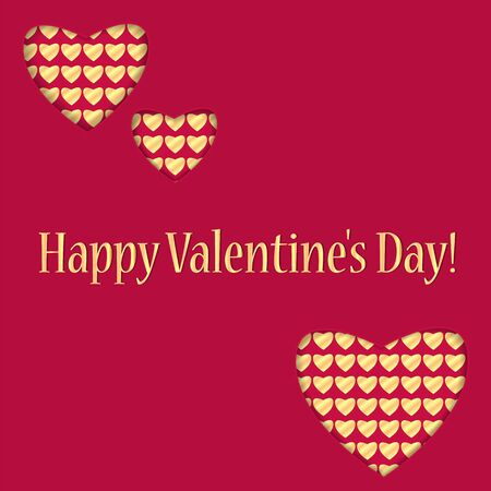 dearness: background for Valentines Day.hearts of different sizes with a gold pattern.red background with golden hearts and greeting inscription.vector