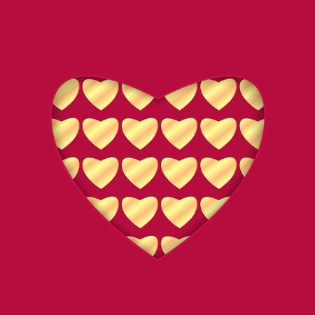 background for Valentines Day.heart with a gold pattern.red background with heart for greeting card.vector