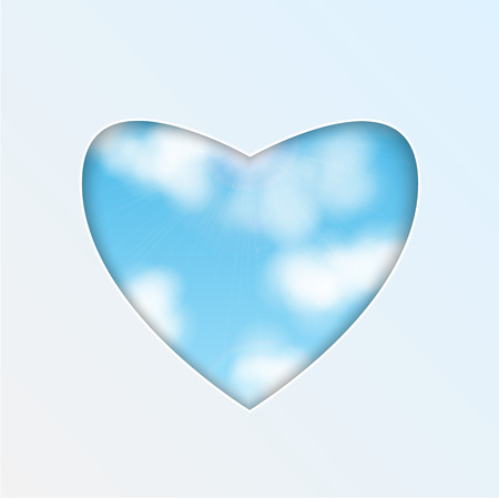 bosom: hole in the shape of heart on the background of sky.eco background.vector