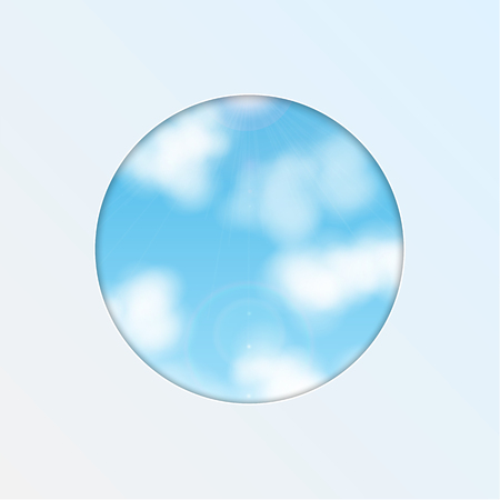 hole in the shape of a circle on the background of sky.eco background.vector