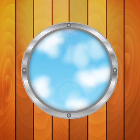 ligneous: hole in the shape of a circle on the background of sky.eco background.round window in wooden wall.vector Illustration