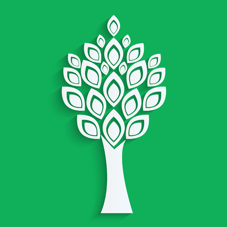 tree cut from white paper on green background.eco icon.vector