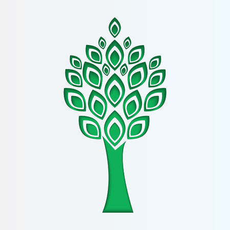 tree cut from white paper.eco icon.vector Illustration