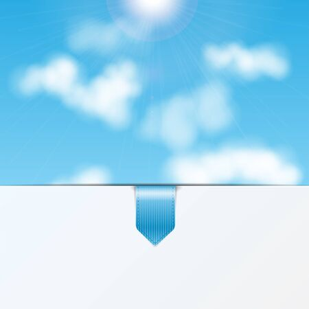 sky background with a sheet of white paper and bookmark.eco background.vector