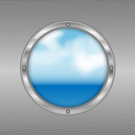 porthole with a view of the sea.sky and ocean outside the window.vector Illustration