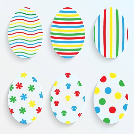 Easter eggs made of paper.set of easter eggs with colorful patterns.vector