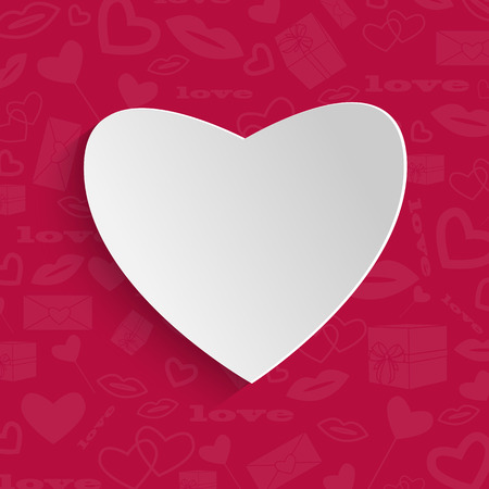 felicitation: background for Valentines Day.white paper heart on a red background with a pattern.vector