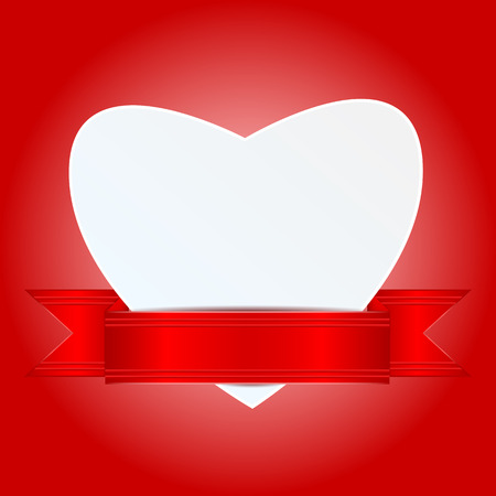 background for Valentines Day.white paper heart decorated with a red ribbon.greeting card in the form of hearts on a red background.vector