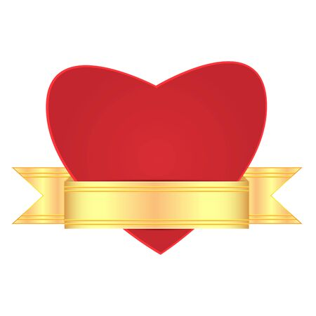 bosom: background for Valentines Day.red heart decorated with a gold ribbon. heart  isolated on white background .vector