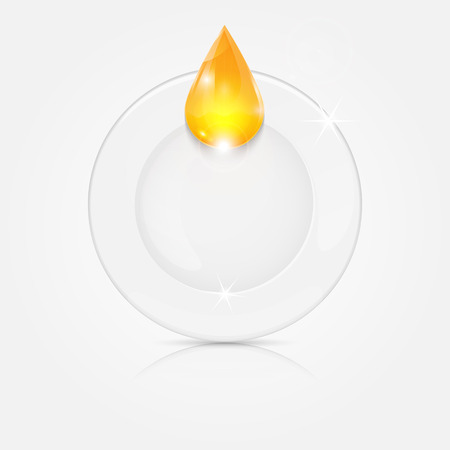 white plate and yellow drop.dishwashing liquid on a background dish.vector Illustration