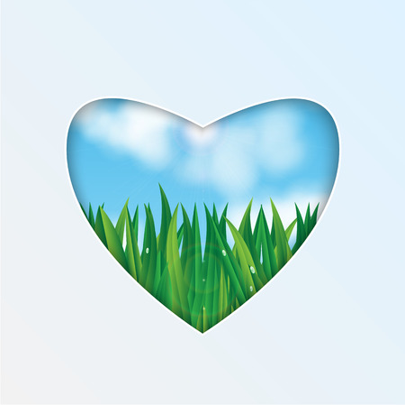 natural background.eco background.green grass with dew drops on a background of blue sky.hole in the shape of heart.vector Illustration