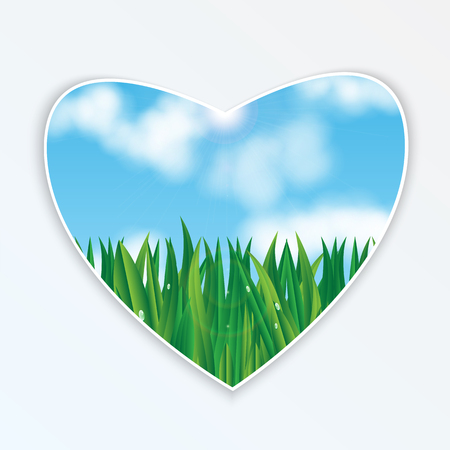 nebulous: natural background.eco background.green grass with dew drops on a background of blue sky.heart with natural design.vector
