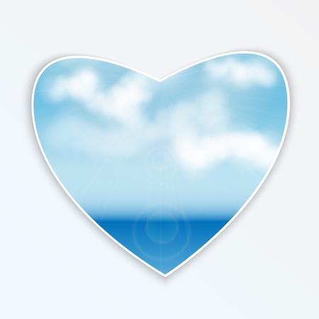 coeur avec design.sea et clouds.seascape naturel sur une figure en forme de heart.vector