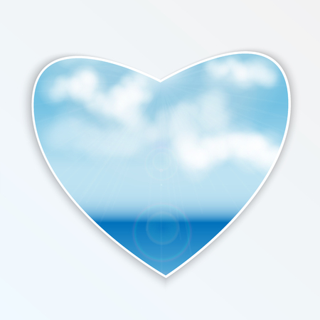 heart with natural design.sea and clouds.seascape on a figure in the shape of heart.vector