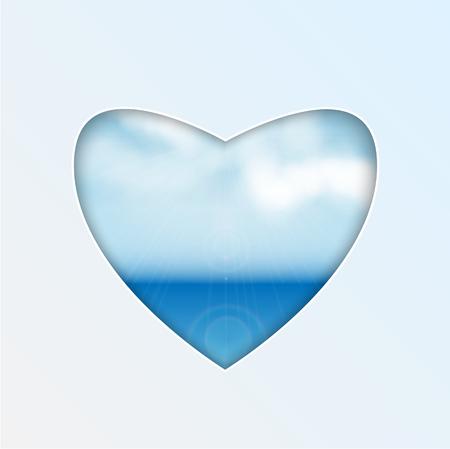 coeur avec un design naturel. La mer et les nuages. En forme de coeur. vecteur