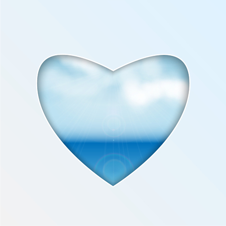 heart with natural design.sea and clouds.hole in the shape of heart.vector
