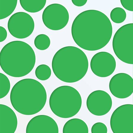 abstract background of green circles of different sizes.paper background with round holes.vector
