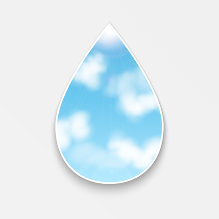 drop with an image of the sky with clouds.natural background.vector