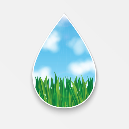 pulp: natural background.figure in the form of drops.green grass and blue sky with white clouds.vector