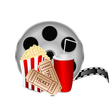 movie icon.items for cinema isolated on white background.reel of film with popcorn and a drink on a white background.vector Illustration