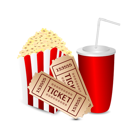 popcorn with a drink and movie tickets isolated on white background.movie icon.vector Illustration