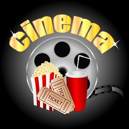 pasteboard: film with popcorn and a drink and movie tickets.cinema background.vector