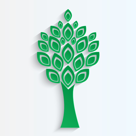tree cut from green   paper on white  background.eco icon.vector