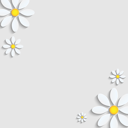 floral background.camomiles from a paper on a gray background.vector