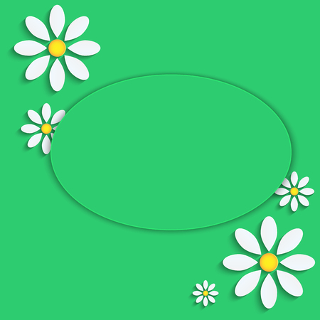 floral background.camomiles from a paper on a green background.vector