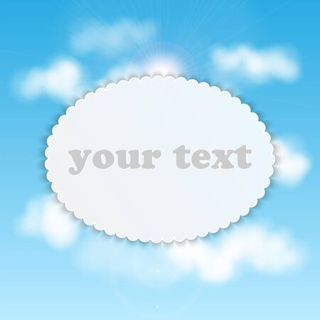 nebulous: sky background .white banner on the background of blue sky with clouds.eco background.vector