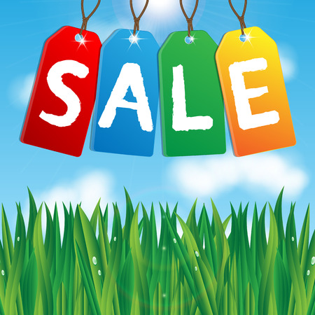 colorful labels sales on background blue sky and green grass.vector