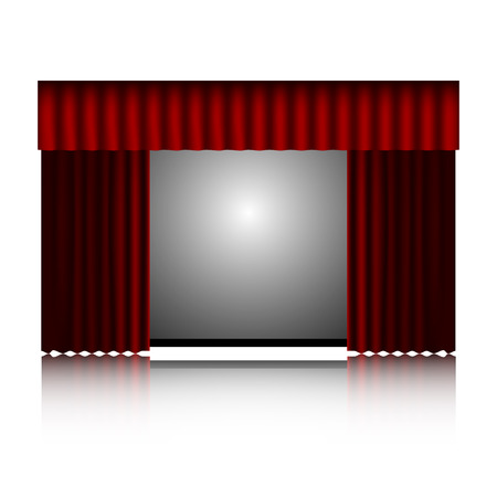 portiere: red curtain and movie screen isolated on white background.vector