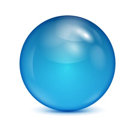 blisters: blue glass bowl isolated on white background.shiny sphere.vector Illustration