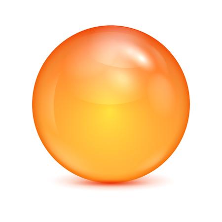 orange glass bowl isolated on white background.shiny sphere.vector