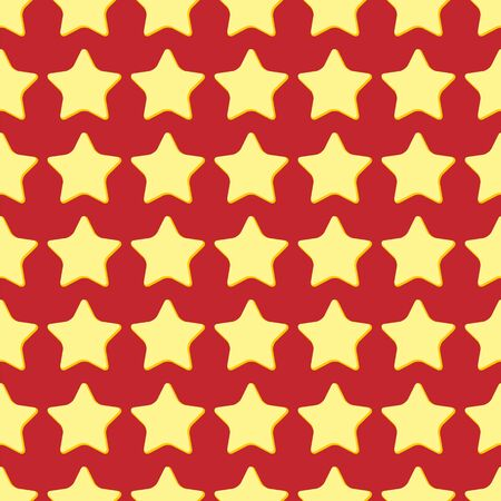 Seamless pattern of yellow stars on a red background.