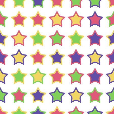 astral: Seamless pattern of colorful stars on a white background. Illustration
