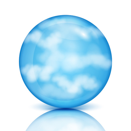 nebulous: blue sphere with white clouds.eco design.sky in a glass bowl.vector