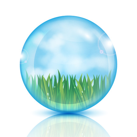 ball with green grass and blue sky inside.eco icon.vector