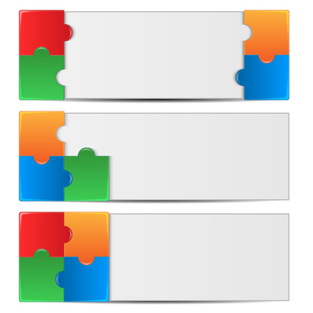 puzzlement: set backgrounds decorated with colorful puzzles.collection of abstract backgrounds.vector Illustration