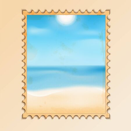 old postcard with a picture of the sea coast.natural background.waterscape.beach.vector