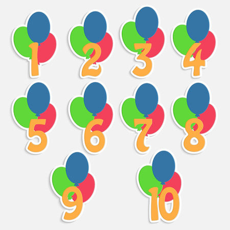 set of labels with numbers and balloons.colorful banners for childrens birthday.vector