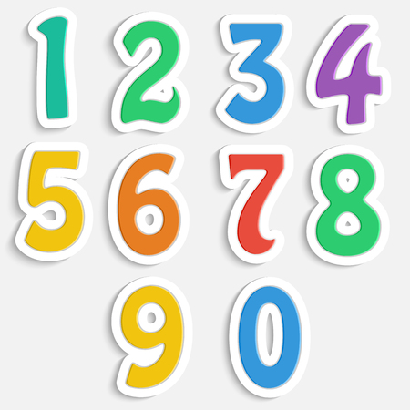 set of colorful digits.multicolored numbers.vector Ilustração