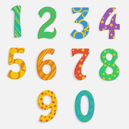 set of colorful digits.multicolored numbers.vector Illustration