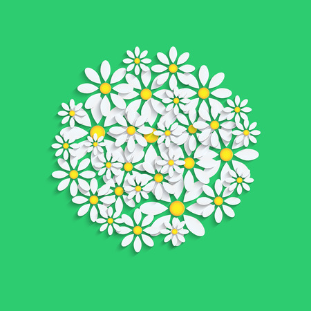 floral background.white camomiles  on a green background.vector Illustration