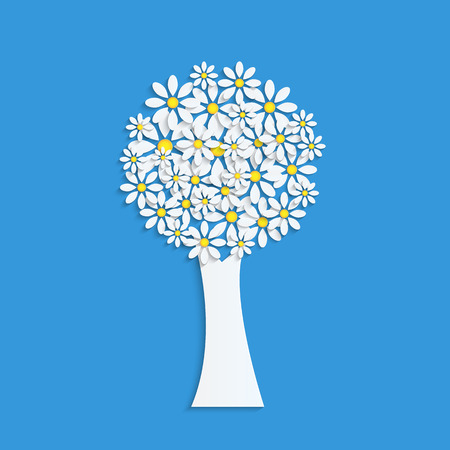 floral design.flowering tree.tree with white flowers on a blue background.paper tree.flowering tree.vector