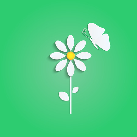 flower and butterfly from a white paper on green background.natural background.vector