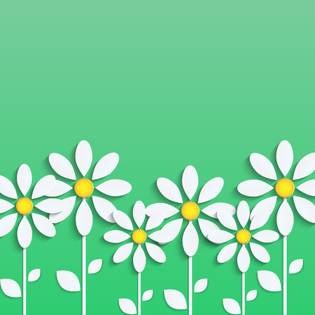 floral background. white daisies on a green background.vector
