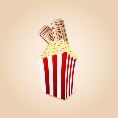pasteboard: popcorn and movie tickets .movie icon.vector Illustration
