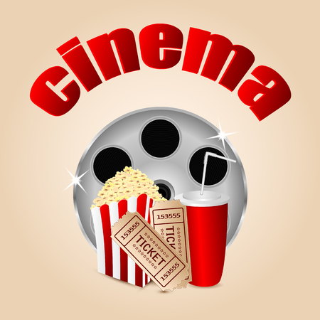 movie icon.items for cinema .reel of film with popcorn and a drink on a beige background.vector Illustration
