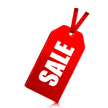 dime: seasonal  sale. red price tag with percent discount isolated on white background.vector